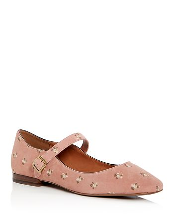 COACH - Women s Floral Print Suede Mary Jane Flats