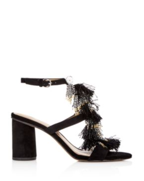 Rebecca Minkoff Women's Alnie Suede Beaded Tassel High-Heel Sandals Xybfk