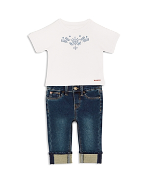 Hudson Girls Embroidered Tee  Cuffed Jeans Set  Baby