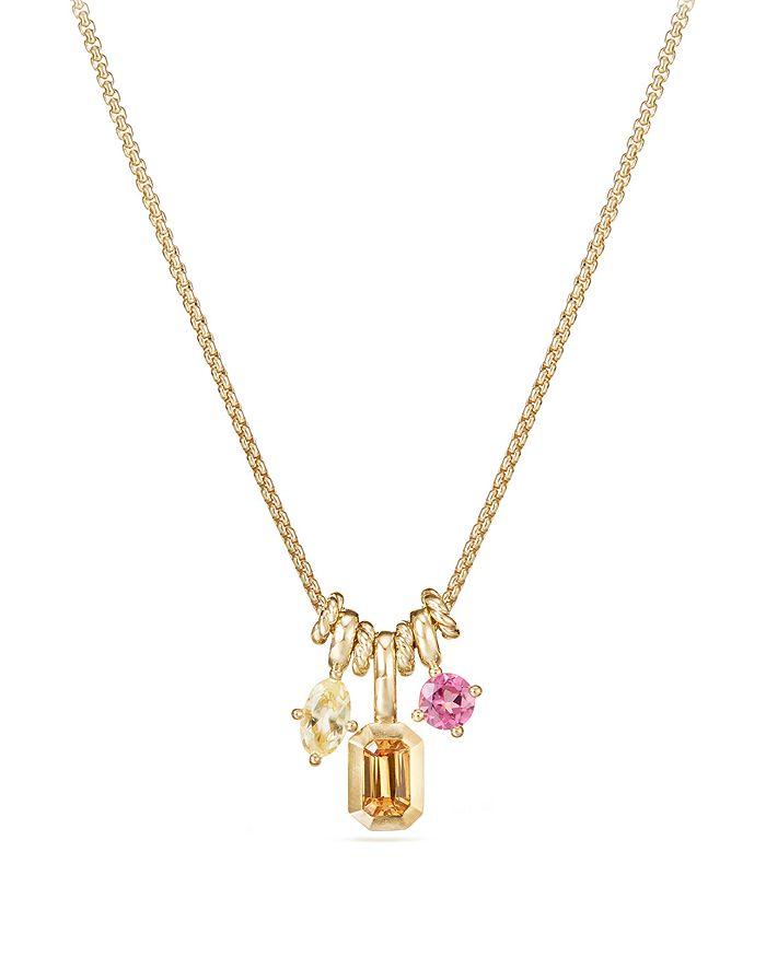 David Yurman - Novella Pendant Necklace with Spessartite Garnet, Yellow Beryl & Pink Tourmaline