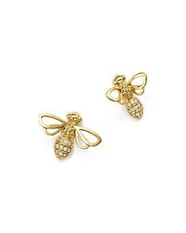 Temple St. Clair - 18K Yellow Gold Bee Diamond Stud Earrings