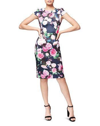Betsey Johnson - Floral-Print Scuba Sheath Dress