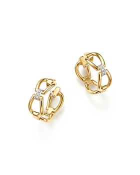 Roberto Coin - 18K Yellow Gold Classic Parisienne Diamond Hoop Earrings - 100% Exclusive