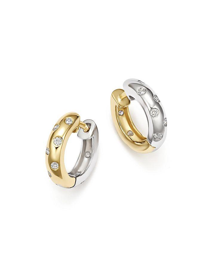 Bloomingdale S Diamond Reversible Huggie Hoop Earrings In 14k White Yellow Gold 0 33 Ct