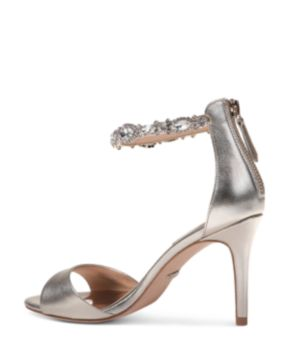 Badgley Mischka Women's Sindy Leather Embellished Ankle Strap High-Heel Sandals tf1dcjnwy