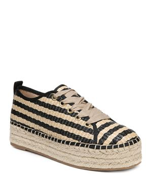 Celina Striped Raffia Espadrille Platform Sneakers, Natural/Black