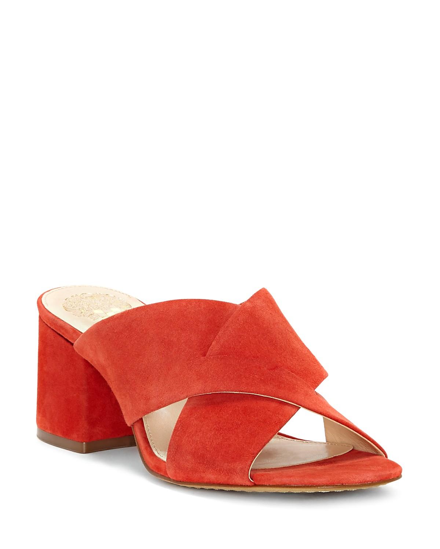 Vince Camuto Women's Stania Suede Block Heel Slide Sandals Bc6EFhW86