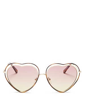 Chloe Poppy Love Heart Frame Sunglasses, 61 mm