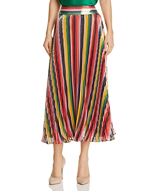 Alice + Olivia Katz Metallic Pleated Striped Midi Skirt