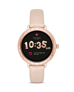 kate spade new york - Scalloped Case Leather Strap Smartwatch, 42mm