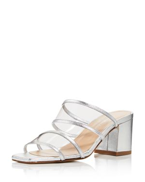 Women'S Cally Leather Illusion Block Heel Slide Sandals, Silver