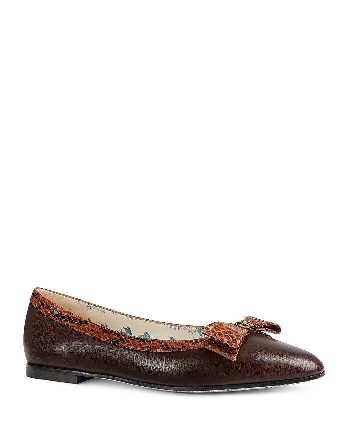 680c09027 Gucci - Women s Yva Leather   Snakeskin Bow Ballet Flats