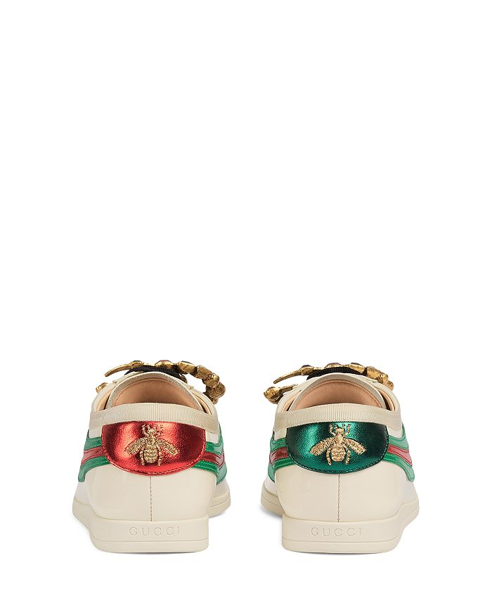 94cca385353 Gucci Women s Falacer Leather Low Top Lace Up Bowler Sneakers ...