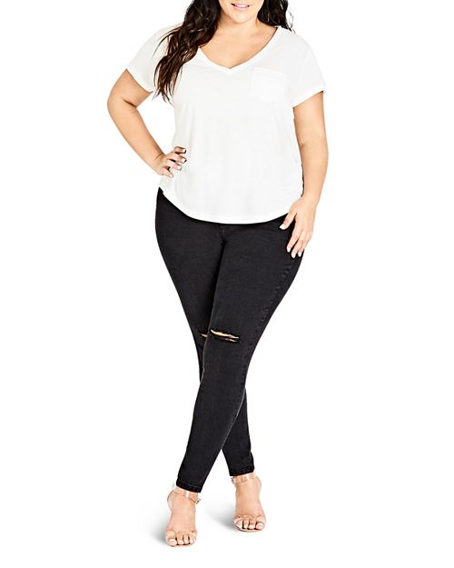 City Chic Plus - Distressed Skinny Jeans in Black