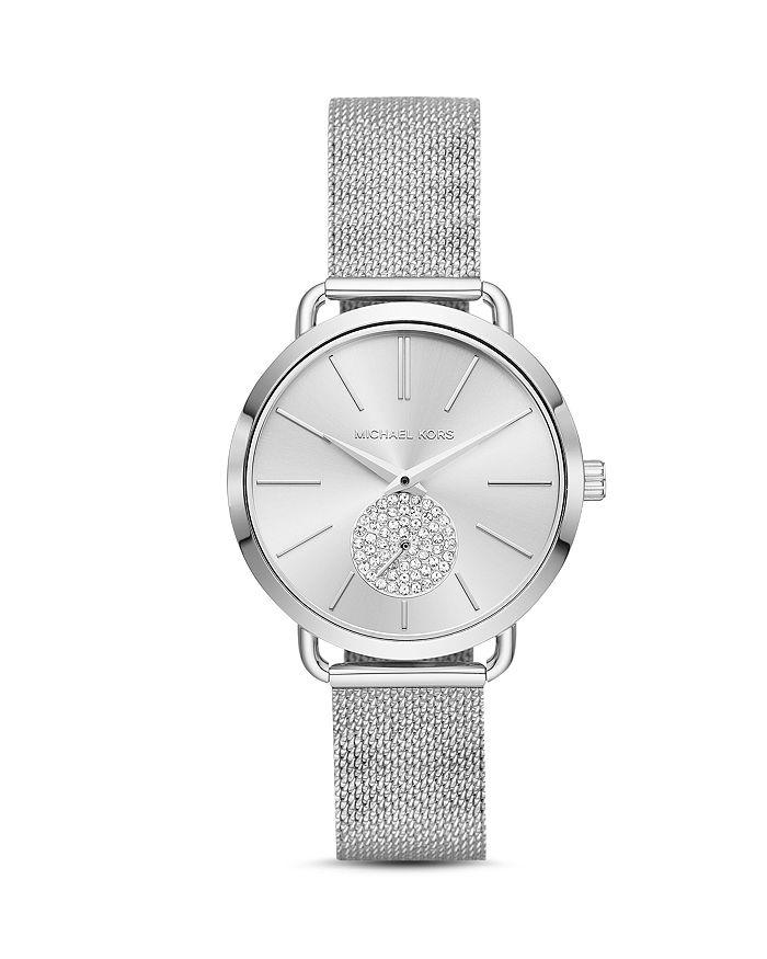 Michael Kors - Silver-Tone Portia Mesh Bracelet Watch, 37mm