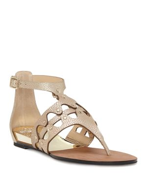 Women'S Arlanian Leather Cutout Demi Wedge Sandals, Metal Sand Leather