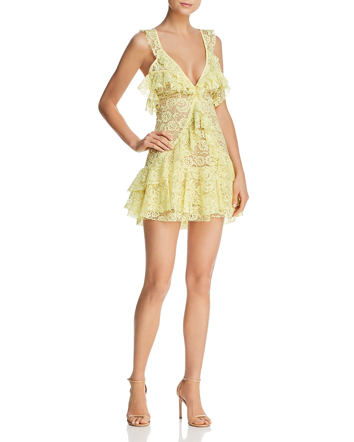 Tati Lace Ruffle Dress in Yellow. - size L (also in M,S,XS) For Love & Lemons