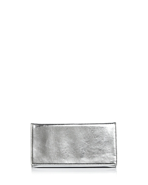 Aqua Metallic Foldover Clutch - 100% Exclusive