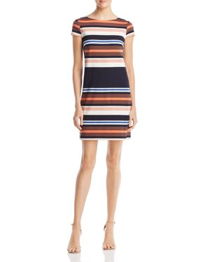 ADRIANNA PAPELL Striped T-Shirt Dress, Coral Multi