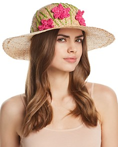 AQUA Straw Floppy Hat with Flowers - 100% Exclusive - Bloomingdale's_0