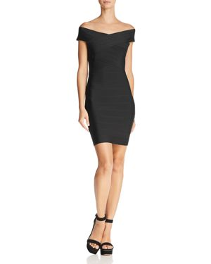 WOW COUTURE OFF-THE-SHOULDER BODY-CON DRESS