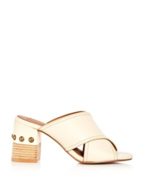 Chloé Women's Leather Crisscross Block Heel Slide Sandals KuDPH5A