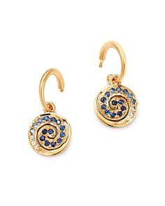 SheBee - 14K Yellow Gold Blue Sapphire Spiral Charm Drop Earrings