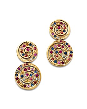 SheBee - 14K Yellow Gold Multicolor Sapphire Spiral Drop Earrings