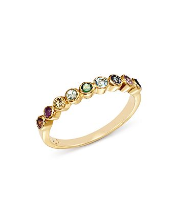 SheBee - 14K Yellow Gold Multicolor Sapphire Band