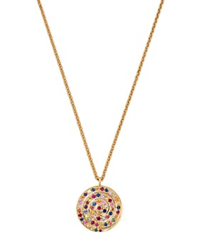 SheBee - 14K Yellow Gold Ombré Blue Sapphire Spiral Pendant Necklace, 20""
