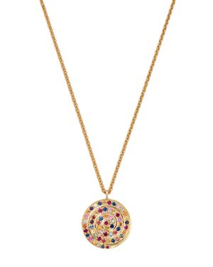 SHEBEE Shebee 14K Yellow Gold Ombre Blue Sapphire Spiral Pendant Necklace, 20 in Multi/Gold