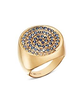 SheBee - 14K Yellow Gold Ombré Sapphire Spiral Cocktail Ring