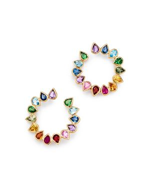 SHEBEE Shebee 14K Yellow Gold Multicolor Sapphire & Mixed Gemstone Circle Loop Earrings in Multi/Gold
