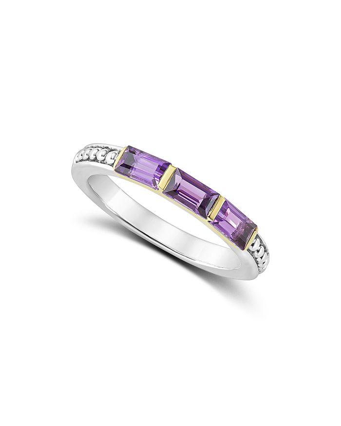fcb2285d9b460 18K Gold & Sterling Silver Triple Gemstone Baguette Stacking Ring