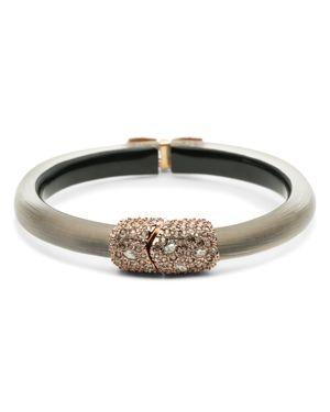ALEXIS BITTAR Crystal Encrusted Capped Hinge Bracelet in Warm Grey