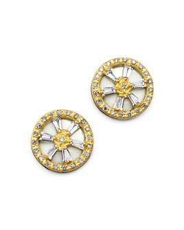 Armenta - 18K Yellow Gold & Blackened Sterling Silver Old World Crivelli White Sapphire & Champagne Diamond Stud Earrings
