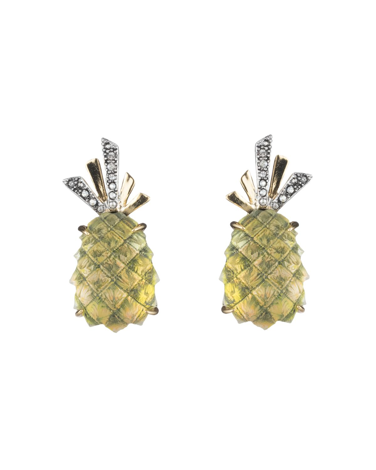 Alexis Bittar Pineapple Lucite Clip-On Earrings