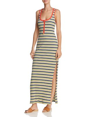 + Margherita Banda Striped Stretch Cotton-blend Maxi Dress - Yellow Splendid Q9Ys7x3