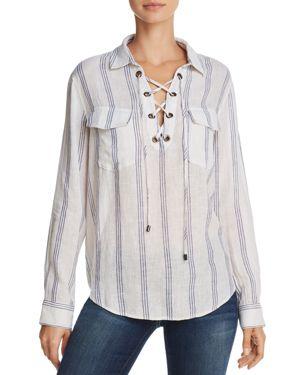 Matea Striped Lace-Up Long-Sleeve Top, Flamenco Stripe