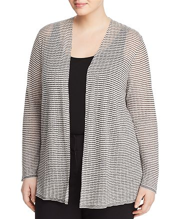Eileen Fisher Plus - Textured Stripe Cardigan