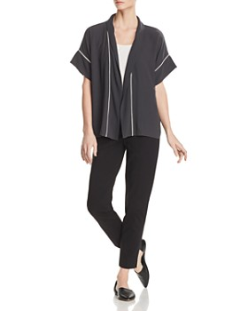 Eileen Fisher - Piped Silk Short-Sleeve Kimono - 100% Exclusive