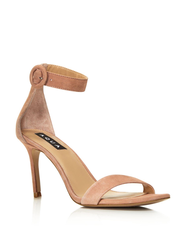 Aqua Women's Seven Suede High-Heel Ankle Strap Sandals - 100% Exclusive