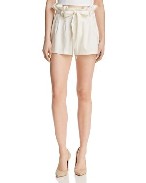 Alice + Olivia Laurine Paperbag-Waist Shorts, Off White