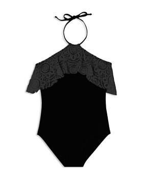 Gossip Girl - Girls' Festival Crochet-Ruffle Swimsuit - Big Kid