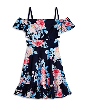 Miss Behave Girls Elsa ColdShoulder Floral Dress  Big Kid