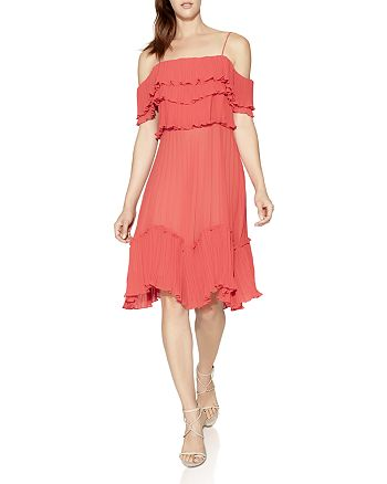HALSTON HERITAGE - Cold-Shoulder Pleated Ruffle Dress