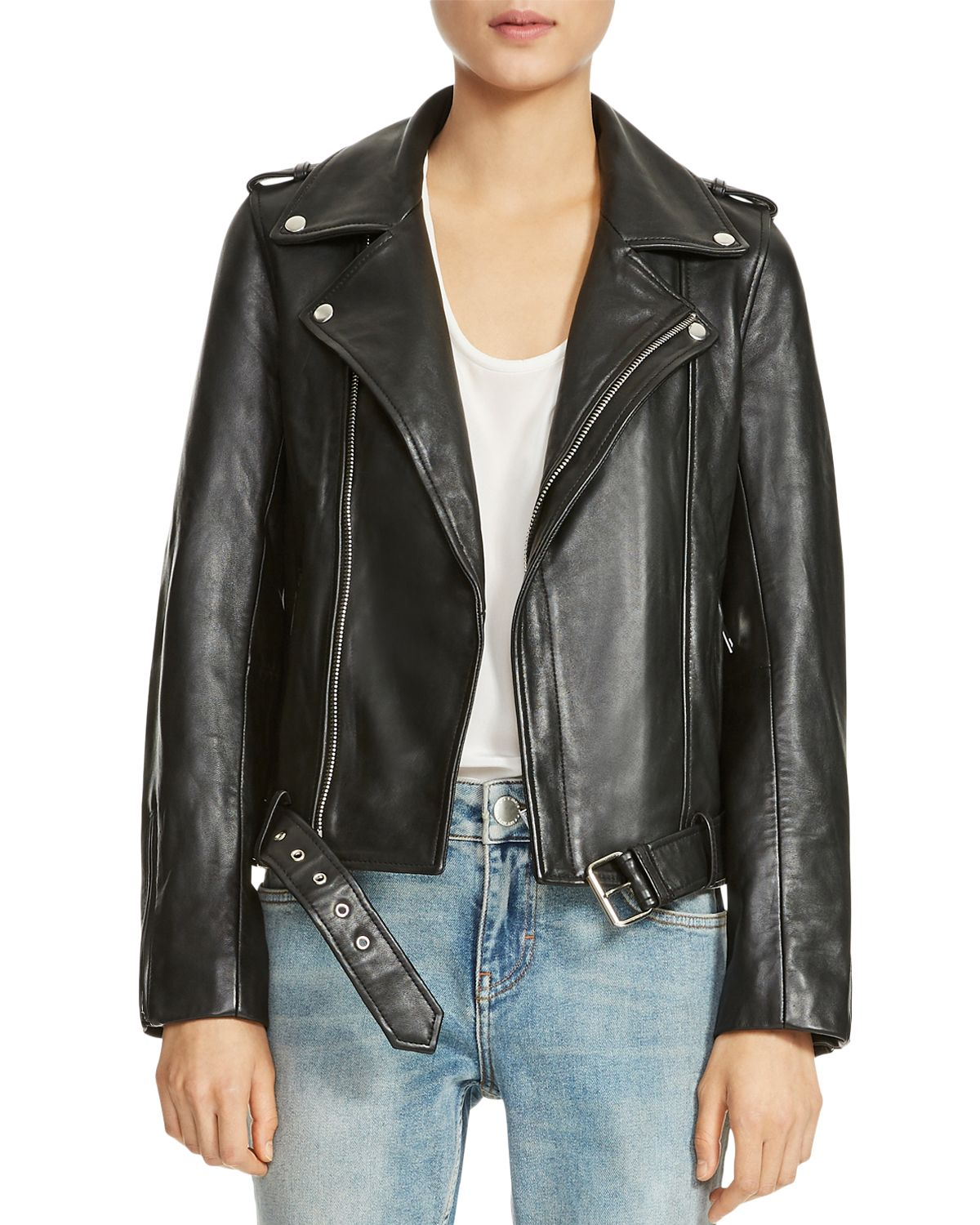 Bocelix Belted Leather Motorcycle Jacket by Maje