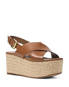 MICHAEL Michael Kors - Jodi Leather Platform Wedge Espadrille Sandals