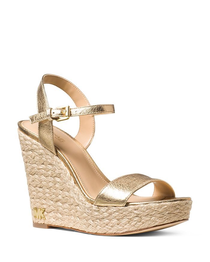 eac46c19fe6f MICHAEL Michael Kors - Women s Jill Leather Espadrille Platform Wedge  Sandals