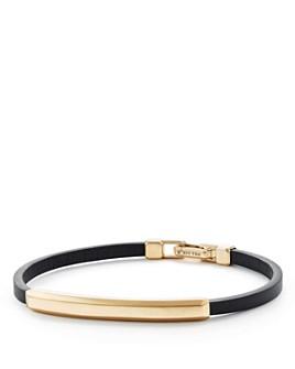 David Yurman - Streamline Leather Bar ID Bracelet with 18K Gold
